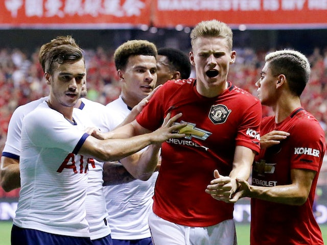 Manchester United midfielder Scott McTominay shows his anger during the International Champions Cup clash with Tottenham Hotspur on July 25, 2019