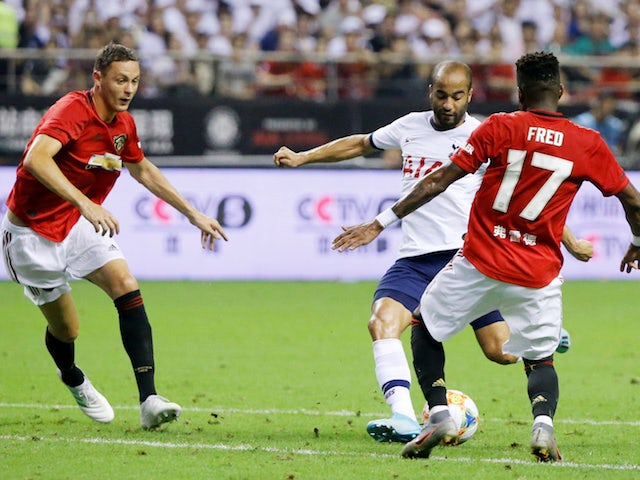 Tottenham Hotspur's Lucas Moura scores against Manchester United in the International Champions Cup on July 25, 2019