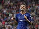 Christian Pulisic celebrates scoring for Chelsea on July 31, 2019