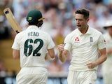 Chris Woakes celebrates the wicket of Travis Head on day one of the First Test of the Ashes on August 1, 2019