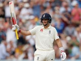 England's Joe Root celebrates his half century against Australia on August 2, 2019