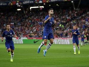 Christian Pulisic celebrates scoring for Chelsea against Red Bull Salzburg on July 31, 2019.