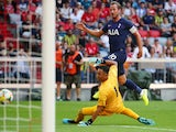 Harry Kane scores for Tottenham Hotspur against Real Madrid in the Audi Cup on July 30, 2019.