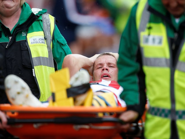 Stoke City's Ryan Shawcross is stretchered off on July 27, 2019
