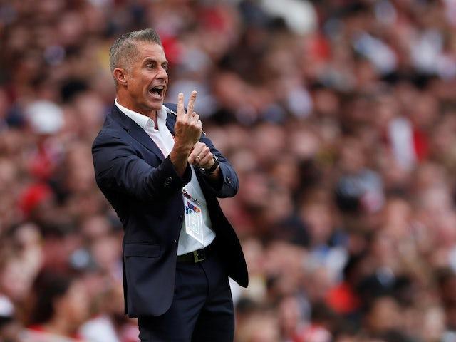 Lyon coach Sylvinho gets a bit excitable on July 28, 2019