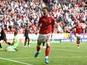 Conor Gallagher celebrates scoring for Charlton Athletic on August 10, 2019