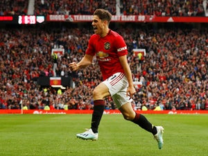 Manchester United's Daniel James celebrates scoring their fourth goal against Chelsea on August 11, 2019