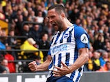 Florin Andone celebrates scoring for Brighton on August 10, 2019