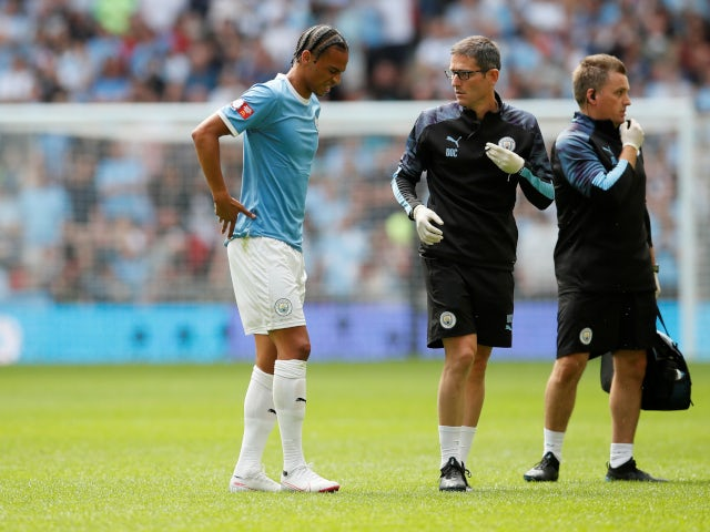 Manchester City's Leroy Sane hobbles off during the Community Shield on August 4, 2019.