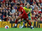 Liverpool's Joe Gomez in action with Norwich City's Teemu Pukki in the Premier League on August 9, 2019