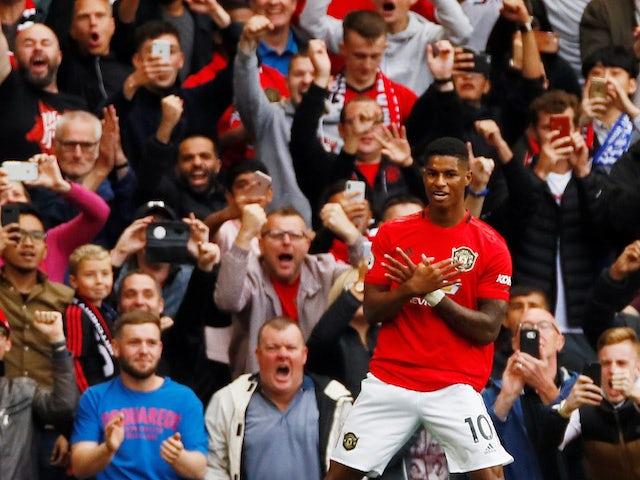 Marcus Rashford celebrates scoring for Manchester United against Chelsea on August 11, 2019