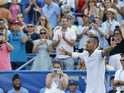 Nick Kyrgios of Australia celebrates after his match against Daniil Medvedev of Russia (not pictured) in the men's singles final of the 2019 Citi Open at William H.G. FitzGerald Tennis Center on August 5, 2019