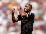 Raheem Sterling celebrates scoring for Manchester City against West Ham United on August 10, 2019.