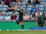 Derby County's Tom Lawrence celebrates scoring their second goal against Huddersfield on August 5, 2019