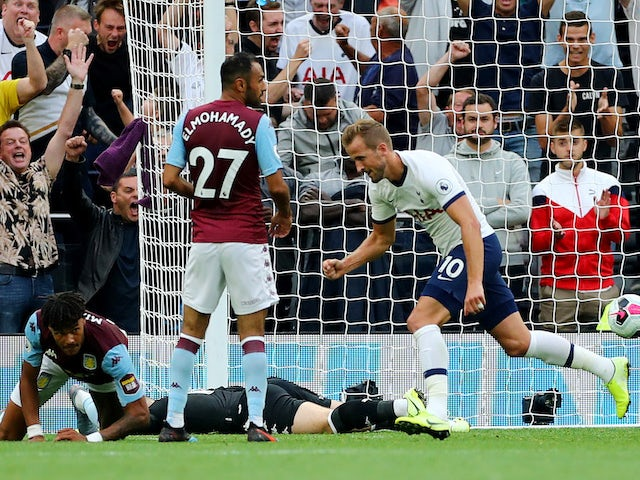 Harry Kane scores his first during the Premier League game between Tottenham Hotspur and Aston Villa on August 10, 2019