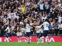 Tottenham's Tanguy Ndombele celebrates scoring their first goal with team mates on August 10, 2019