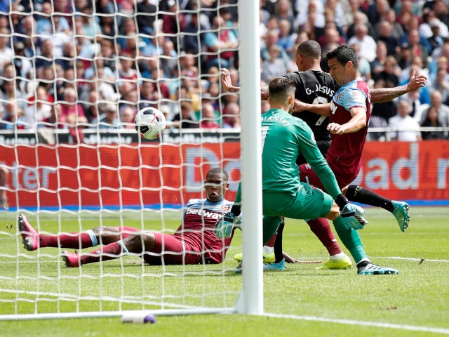 Gabriel Jesus scores for Manchester City against West Ham United in the Premier League on August 10, 2019.