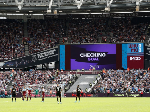 VAR rules out a goal for Manchester City against West Ham United in the Premier League on August 10, 2019.