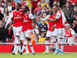 Arsenal players celebrate Alexandre Lacazette's goal against Burnley in the Premier League on August 17, 2019