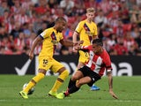 Athletic Bilbao's Dani Garcia in action with Barcelona's Rafinha on August 19, 2019