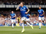Everton's Bernard celebrates scoring their first goal on August 17, 2019