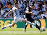 Real Madrid's Gareth Bale in action with Celta Vigo's Lucas Olaza in La Liga on August 17, 2019