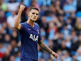 Erik Lamela celebrates scoring during the Premier League game between Manchester City and Tottenham Hotspur on August 17, 2019