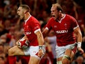 Wales' George North celebrates scoring their first try on August 17, 2019