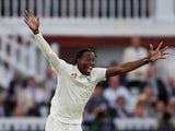 Jofra Archer celebrates taking a wicket at The Ashes on August 16, 2019