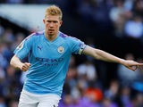 Kevin De Bruyne in action during the Premier League game between Manchester City and Tottenham Hotspur on August 17, 2019