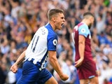 Brighton and Hove Albion's Leandro Trossard celebrates scoring their first goal against West Ham on August 17, 2019