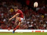 Wales' Leigh Halfpenny takes a successful penalty kick against England on August 17, 2019