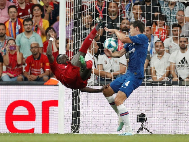 Liverpool's Sadio Mane in action with Chelsea's Andreas Christensen in the UEFA Super Cup on August 14, 2019