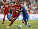 Liverpool's Joel Matip in action with Chelsea's Christian Pulisic in the UEFA Super Cup on August 14, 2019