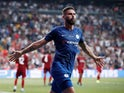 Chelsea forward Olivier Giroud celebrates scoring against Liverpool in the UEFA Super Cup on August 14, 2019