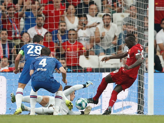 Liverpool forward Sadio Mane scores against Chelsea in the UEFA Super Cup on August 14, 2019