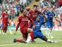 Liverpool defender Virgil van Dijk has a shot saved in the UEFA Super Cup against Chelsea on August 14, 2019