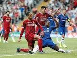 Liverpool defender Virgil van Dijk has a shot saved in the UEFA Super Cup against Chelsea on August 14, 2019