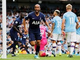 Lucas Moura celebrates scoring for Tottenham Hotspur against Manchester City in the Premier League on August 17. 2019.
