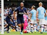 Lucas Moura celebrates scoring for Tottenham Hotspur against Manchester City in the Premier League on August 17. 2019.