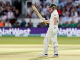 Australia's Marnus Labuschagne celebrates his half century on August 18, 2019