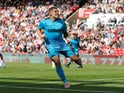 Martyn Waghorn celebrates scoring for Derby County on August 17, 2019