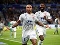 Olympique Lyonnais' Memphis Depay celebrates scoring their third goal on August 16, 2019