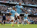 Raheem Sterling celebrates scoring for Manchester City against Tottenham Hotspur in the Premier League on August 17, 2019.
