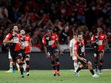 Stade Rennes' M'Baye Niang celebrates scoring their first goal with teammates on August 18, 2019