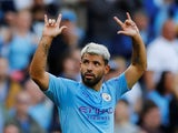 Sergio Aguero celebrates scoring during the Premier League game between Manchester City and Tottenham Hotspur on August 17, 2019