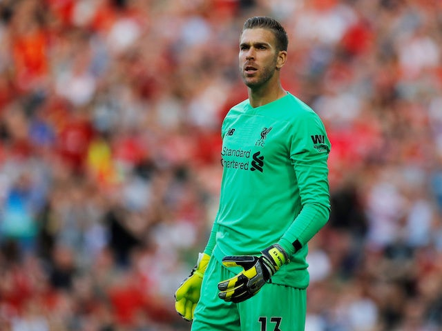Adrian in action during the Premier League game between Liverpool and Arsenal on August 24, 2019