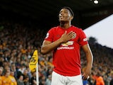 Manchester United's Anthony Martial celebrates scoring their first goal against Wolves on August 19, 2019