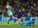 Barcelona attacker Antoine Griezmann scores against Real Betis in La Liga on August 25, 2019