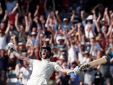 England's Sir Ben Stokes celebrates as they win the test on August 25, 2019